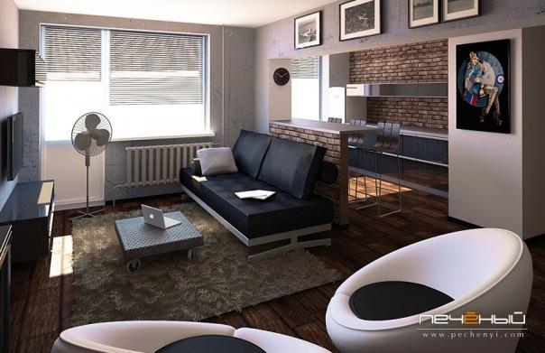 Дизайн интерьера гостиной в стиле лофт.