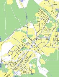 Карта города с названиями многих улиц и схемой движения автотранспорта.