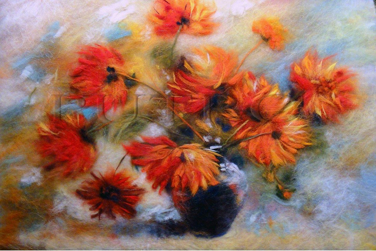 Картинки из шерсти цветы 2