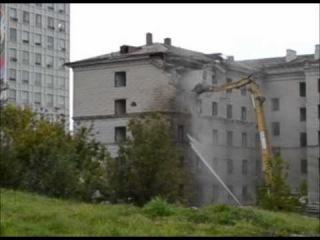 разрушение старого общежития БГУ. Минск