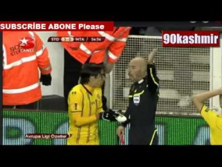 Stoke C. 3 - 0 Maccabi Tel Aviv Y. Ziv Throws his shoe to the referee (red card) (20.10.11) funny