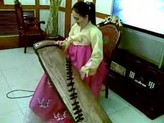 North Korean Girl playing the Kayagum