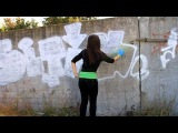 Girl doing her first graffiti (HD)