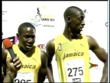 Carifta Games Replay of end of boys 100m Dash (Jazeel Murphy - 1st) and interview