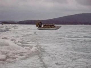Аэробот. Движение по неровному льду. Испытания длинной лодки.
