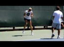 Maria Sharapova cooling down after practice at Stanford, 2011