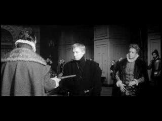 Гамлет, фильм Г.Козинцева,1964. Сцена с флейтой. Игорь Дмитриев, В. Медведев и И. Смоктуновский.