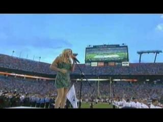 Fergie singing The National Anthem - Dolphins vs Patriots