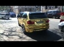 Gold BMW X5M on Chisinau's streets.