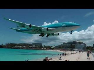 Посадка Боинга 747 в аэропорту Принцессы Юлианы на Острове Святого Мартина