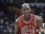Michael Jordan takes a free-throw with his eyes closed
