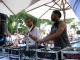 King Britt with Micah on Violin @ South Seas Hotel Pool for PEX Party on Saturday during WMC2010