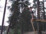 Тарзанка лесное озеро Карелия  Tarzan boy forest lake Karelia Russia