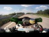 Zx10 Autobahn! Байкер на мотоцикле Kawasaki ZX-10R Ninja 2011 модельного года разогнался до 300 км/ч на автобане.