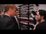 Taylor Hall and Tyler Seguin talk hockey sticks with Daniel Briere