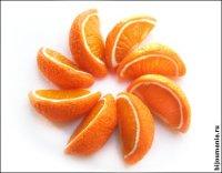 """Миниатюра для кукол формата Барби -  """"Нарезанный апельсин """".  Пластика.  Длинна дольки апельсина 16 мм."""