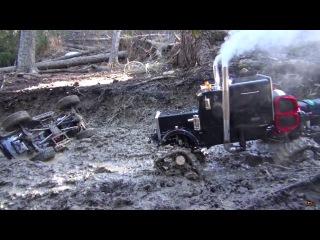 RC ADVENTURES - Muddy Tracked Semi-Truck 6X6 HD OVERKiLL 4X4 BEAST MT on the Trail
