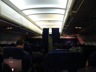 Салон Airbus A-319 во время рейса