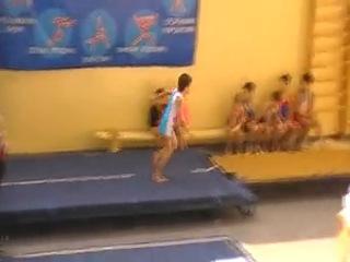 Мой сын Алексей - 1 место в первенстве области по прыжкам на акробатической дорожке среди мальчиков 9-10 лет