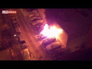 Взрыв авто на севере Москвы сняли на видео