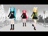 Vocaloids Hatsune Miku, Kagamine Rin, Kasane Teto