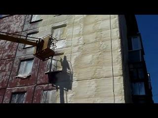 Утепление стены жилого дома методом напыления ппу