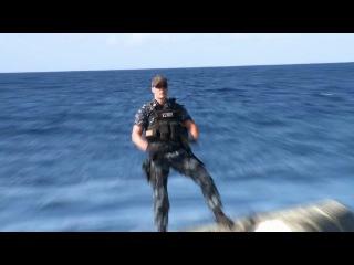На съёмках фильма «Battleship»: На барже