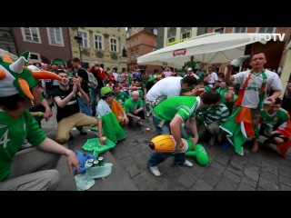 EURO 2012 POLAND UKRAINE .. IRISH FANS SINGING STAND UP FOR THE BOYS IN GREEN