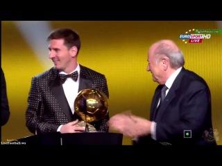 Лионель Месси - единственный в истории футбола который получил Золотой Мяч 4 раза как лучший футболист мира  HD