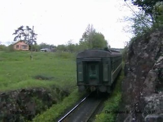 ТЭП70 с пригородным поездом Выборг - Элисенваара, станция Хийтола, Карелия