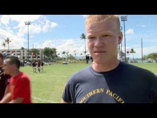 На съёмках фильма «Battleship»: Игра в футбол