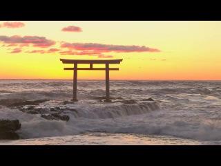 Восход солнца над Тихим океаном  - Тории в Оараи (Синтоизм, Япония)