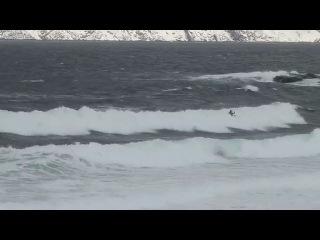 Кайтсерфинг и сноукайтинг на берегу Баренцева моря. Териберка