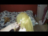 французкая коса с двумя лентами
