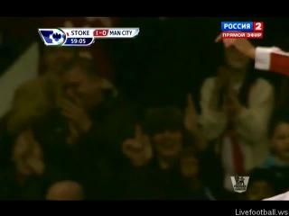 Супер гол Крауча в матче Сток Сити - Манчестер Сити