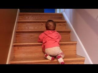 Вивиенн ползет по лестнице!
