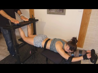 French tickling ticklish lilou explodes on the device - bare feet tickling