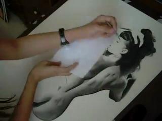 Процесс рисования карандашом и углем,портрет Бетти Пейдж.