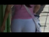 Sexy Thick Woman With A Huge Butt Walking In Tight Cotton Pants