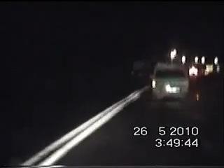 Погоня за Москвичом -412 (за рулем таджик) в конце авария, съемка из машины ДПС