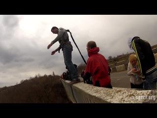 Прыжки с веревкой с 35 м Ивановского моста возле Первомайска с командой X-Sport (Одесса).