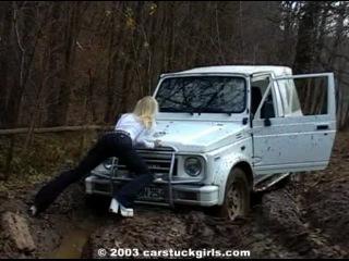 Car Stuck Girls 01