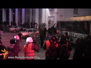 Беспорядки на улице Грушевского в Киеве Взорвали автобус Украина Евромайдан 19 01 2014