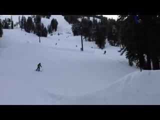Первый прыжок с трамплина на лыжах оказался весьма неудачным.