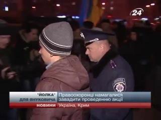 У Криму молодь прикрасила ялинку портретами Янукови...