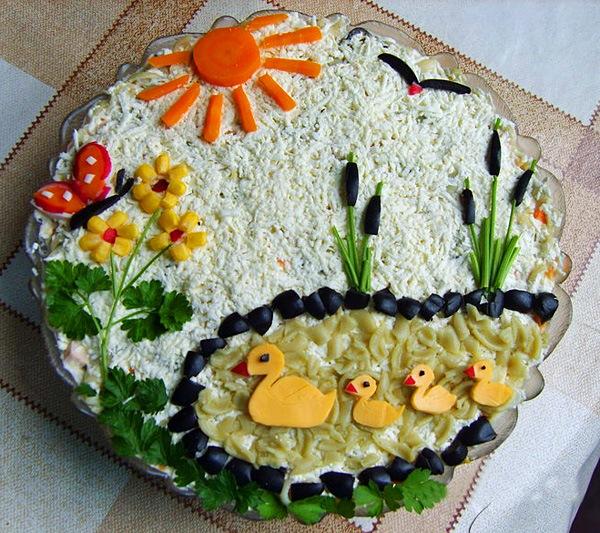 Детский салат оформление фото