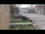 Выстрел из РПГ по танку Армии Сирии