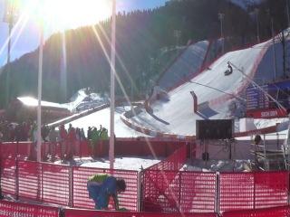 Финиш Олимпийской Чемпионки по скоростному спуску Maze Tina из Словакии.