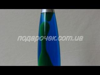 Лава лампа зеленая с синей жидкостью