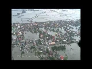 масштабное наводнение на Филиппинах, район Манилы  ( вид с вертолёта)